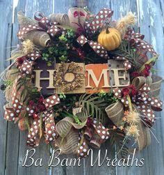 Fall Wreath Autumn Wreath Rustic Fall Wreath Fall by BaBamWreaths Diy Fall Wreath, Autumn Wreaths, Holiday Wreaths, Holiday Decor, Wreath Ideas, Deco Wreaths, Pumpkin Topiary, Halloween Diy, Halloween Wreaths