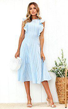ECOWISH Womens Dresses Elegant Ruffles Cap Sleeves Summer A