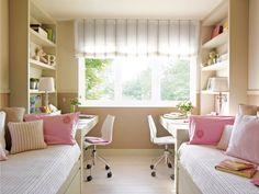 Двухрядная планировка узкой детской комнаты