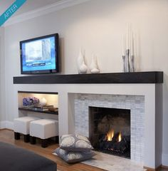 A nice modern fireplace - option to balance off center fireplace. Like tile - coordinates w kitchen MY NOTES - Like the footstools stored under tv. Fireplace still focus. Could I do this w/ my niche and fireplace on w/ neo traditional look? Living Room Decor Fireplace, Fireplace Design, Family Room, Off Center Fireplace, Living Room With Fireplace, Fireplace Remodel, Fireplace Decor, Fireplace Makeover, Outdoor Fireplace Designs
