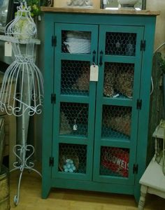 Teal Pie Safe Style Storage Cabinet / by FurnishingsWithaPast, $499.00
