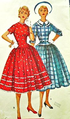"""1950s Misses Rockabilly One-Piece Dress with Detachable Collar Vintage Sewing Pattern, Simplicity 4996, Bust 30"""" uncut"""