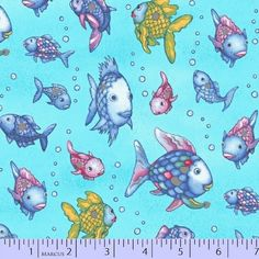 The Rainbow Fish Fabric / Rainbow Fish on Blue Fabric / Placed Silver Metallic / Marcus 9750-0720 / Fabric Fabric By The Yard & Fat Quarters by SewWhatQuiltShop on Etsy
