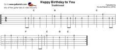 Happy Birthday To You - guitar tab