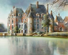 Marc Chapaud 1941 | French landscape painter | Tutt'Art@ Watercolor Mixing, Watercolor Flowers, French School, French Chateau, Russian Art, Solitude, Beautiful Paintings, Decoration, Art And Architecture