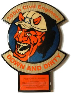 """305th CES - McGuire AFB, NJ Plaque  12-1/2"""" x 9""""  The """"Down and Dirty"""" plaque is inlaid with natural and color dyed wood veneer and coated with thick, durable epoxy. Typically the engraving includes the member's name, unit, tour dates, farewell statement.  Contact me through Facebook at www.facebook.com/collectablewoods or email at bmwelch@collectablewoods.com."""