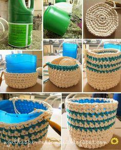 Tarro forrado con tejido crochet
