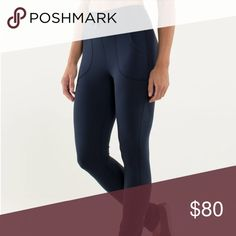 Lululemon blue leggings Bought gently used, I would keep but way too long for my liking. Meant for someone tall. Flaw: has some piling in the inner thigh area other then that good overall condition lululemon athletica Pants Leggings