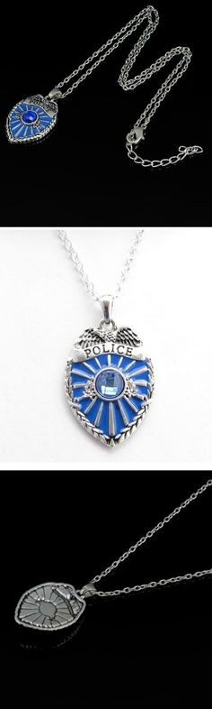 Blue Crystal Police Badge Necklace! Click The Image To Buy It Now or Tag Someone You Want To Buy This For.  #Police