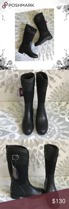 """Chooka 'Bolero' Black Belted Mid-Calf Boots New with box. Heel Height is 1 1/4"""". Platform Height is 1/4"""". Shaft Height is 13 1/4"""". Shaft Width is 14 1/2"""". *Measurements are approximate. Pull On. Man Made. Waterproof. Bundle for discounts! Thank you for shopping my closet! Chooka Shoes Winter & Rain Boots"""