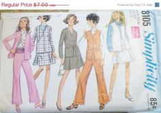 Sale Sale Sale Vintage Sewing Pattern by SewYesterdayPatterns (Craft Supplies & Tools, Patterns & Tutorials, Sewing & Needlecraft, Sewing, commercial, sewing pattern, vintage pattern, simplicity pattern, craft supplies, misses womens, 1960s pattern, sewing supplies, juniors pattern, bell bottoms pattern, jacket pattern, juniors skirt, size 5 bust 31)