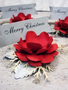 Merry Christmas Paper Flower Place Cards