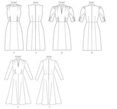 MISSES' DRESS: Dress has neckline and skirt variations, fitted, lined bodice, and back zipper. A and B: skirt (semi-fitted through hip), side front and side back seams. B: elasticized sleeves. B and C: front extends into back collar.