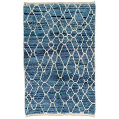 Moroccan Rug in Light Blue and Ivory Colors