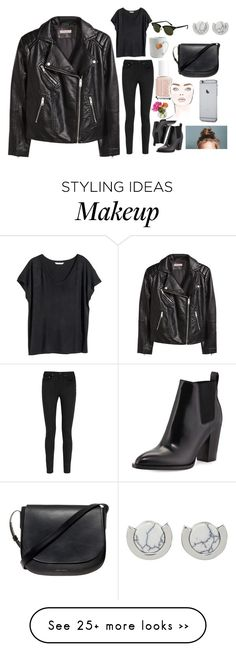 """You wear so much black"" by barbtaeger on Polyvore featuring H&M, Yves Saint Laurent, Rayban, Vince, le mouton noir & co., Cultural Intrigue, Essie, Mansur Gavriel and Whistles"
