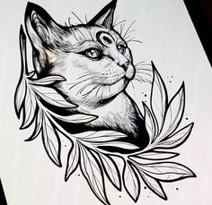 Cat tattoo draft for artists Tattoo Sketches, Tattoo Drawings, Body Art Tattoos, Cool Drawings, Art Sketches, Doodle Drawing, Animal Tattoos, Cat Tattoo, Ink Art
