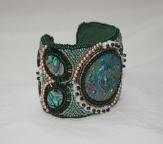 Polymer clay and shell cuff