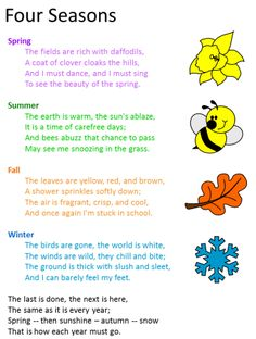 Poem:  Four Seasons This poem will introduce each of the seasons to the students. Good introductory material.