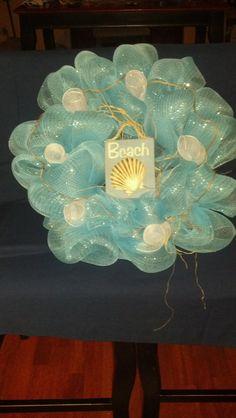 beach deco mesh wreath by ShellysLittleShop on Etsy, $50.00