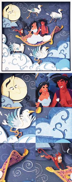 Amazing paper illustration!!  Disney Aladdin Paper Art: A Whole New World - Handmade Illustration of Aladdin and Princess Jasmine on the Magic Carpet with Abu and Genie!  https://www.etsy.com/it/listing/196643125/disney-aladdin-il-mondo-e-mio?ref=pr_shop&langid_override=0