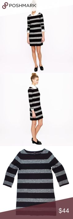 """New JCREW Black & Gray Stripe Maritime Dress NWIt. This new black and Heather gray maritime stripe knit dress from JCREW features a pullover style, 3/4 length sleeves. Made of 100% cotton. Unlined. Measures: Bust: 35"""", total length: 33"""", sleeves: 19"""" J. Crew Dresses"""