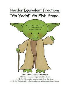 Ferns Freebie Friday ~ Go Yoda! Harder Equivalent Fractions Go Fish Card Game! $0 ~By www.FernSmithsClassroomIdeas.com