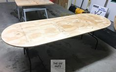 DIY Folding Table: How To Make an Inexpensive DIY Game & Poker Table - The DIY Nuts Folding Poker Table, Folding Table Legs, Outdoor Folding Table, Poker Table Diy, Diy Table, Plywood Table, Diy Games, Table Games, Tables