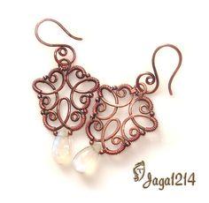 Handmade Wire Jewelry, Wire Jewelry Designs, Earrings Handmade, Jewelry Crafts, Wire Jewelry Earrings, Wire Wrapped Earrings, Beaded Jewelry, Wire Jewellery, Diy Schmuck