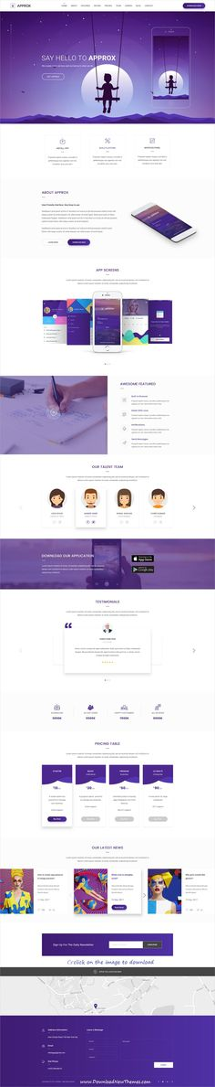 Approx is clean and modern design PSD template for onepage creative #app #landingpage website download click on image.