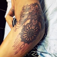 "Katie Shocrylas on Instagram: ""started this wrapping hip/thigh piece... ❤ liked on Polyvore featuring tattoo's"