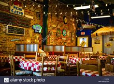A retro and cool old Historic rustic brick Seafood restaurant with menus on the wall and