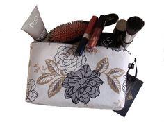 Black Grey Ivory Small Floral Makeup Bag  Zipper by TalfourdJones