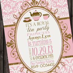 Princess Tea Party Invitation Tea Party Princess Tea  Ma Cosette