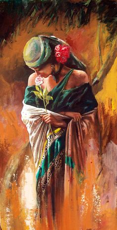 Girl In Green Painting by Alim Adilov Green Paintings, Indian Art Paintings, Beautiful Paintings, Art Sketches, Art Drawings, Portrait Art, African Art, Love Art, Female Art