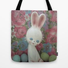 The Easter Bunny Tote Bag by Vintage  Cuteness - $22.00 #vintage #bunny #rabbit #easter #hare #kitsch #eggs #flowers #pink #blue #tote #bag #fashion