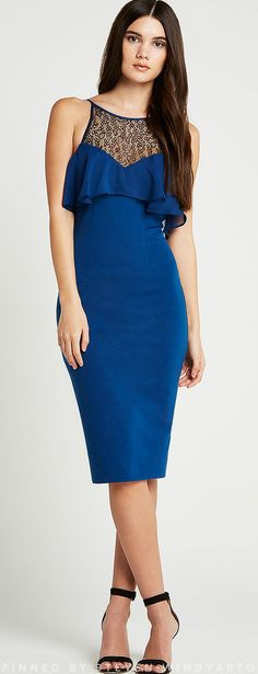 BCBGeneration - Lace Yoke Ruffle Bodice Sheath Dress #bcbgeneration #bcbg