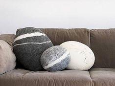 Felted stone pillow-floor pillow-floor pouf-home decor-felt wool stone-decorative pillows Felt Cushion, Felt Pillow, Scatter Cushions, Floor Cushions, Felt Decorations, Felting Tutorials, Wool Pillows, Throw Pillows, Scrappy Quilts