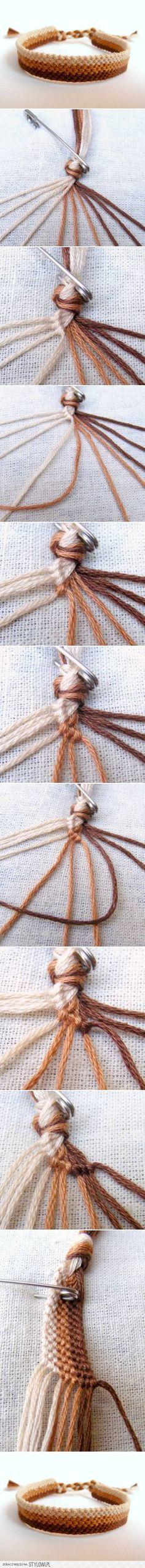 DIY Easy Weave Bracelet is part of Woven bracelet diy - Diy Bracelets Easy, Bracelet Crafts, Macrame Bracelets, Jewelry Crafts, String Bracelets, Knotted Bracelet, Crochet Bracelet, Macrame Knots, Micro Macrame