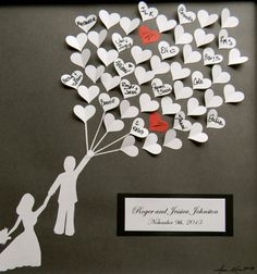 Our love makes us fly!! This unique guestbook will add a touch of whimsy to your special day!! Everyone will love seeing the bride and groom soaring high with heart shaped balloons! Your guests will be pleasantly surprised to be signing their own 3D heart instead of an outdated wedding book. You will have a personalized piece of artwork to hang in your home for years to come!  Everything about this guest book is one-of-a-kind! I hand draw and cut out the silhouette of the bride and groom…