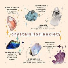 crystals for anxiety ✨ shared by dani on We Heart It Wiccan Spell Book, Wiccan Spells, Green Witchcraft, Healing Spells, Crystal For Anxiety, Anxiety Crystals, Crystal Aesthetic, Witchcraft For Beginners, Herbal Magic