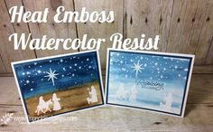 Night of Bethlehem, Watercolor Emboss Resist, Stampin'Up! Frenchiestamps