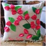 CONFESSIONS OF A PLATE ADDICT: Pottery Barn Inspired No-Sew Bougainvillea Pillow