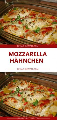 Mozzarella-Hähnchen in Basilikum-Sahnesauce Mozzarella chicken with basil cream sauce Crock Pot Recipes, Chicken Lunch Recipes, Casserole Recipes, Dinner Recipes, Chicken Casserole, Basil Cream Sauces, Sauce Creme, Chicken Breast Fillet, Chicken Breasts