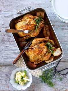 Herbed butter roasted chicken.
