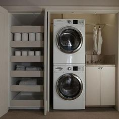 Laundry Room in Closet, Modern, Laundry Room