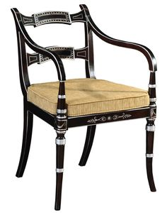 Regency style ebonised and silver gilt chair,