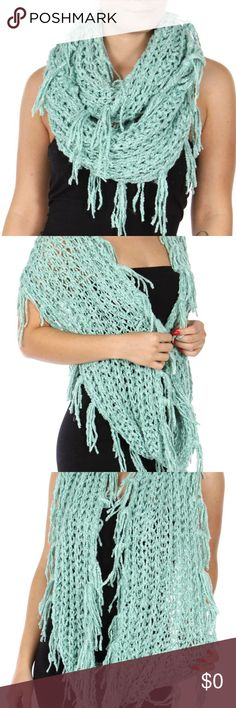 """C.C. CHENILLE INFINITY SCARF Stay warm with this beautiful mint green  warm and  thick knit fringe chenille infinity scarf.  34"""" x 14"""" flat 100% Polyester Accessories Scarves & Wraps"""
