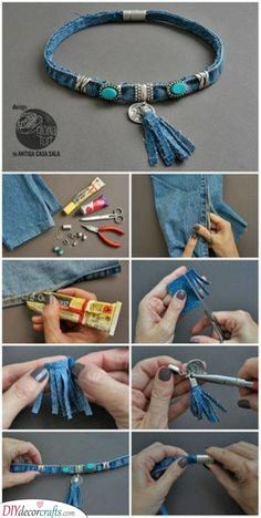 74 great DIY ideas to recycle old jeans - best decoid .- 74 Tolle DIY Ideen, um alte Jeans zu recyceln – Beste Dekoideen 74 great DIY ideas to recycle old jeans - Diy Jeans, Sewing Jeans, Jean Crafts, Denim Crafts, Tape Crafts, Upcycled Crafts, Fabric Jewelry, Beaded Jewelry, Handmade Jewelry