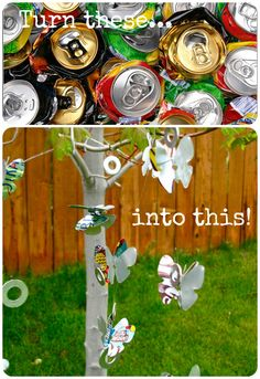 Upcycle: Soda Can Wind Chime...  Put these all around the veggie garden to keep the birds away!