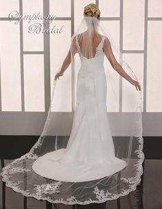 Romantic Lace Cathedral Length Wedding Veil Symphony Bridal 6769VL - Affordable Elegance Bridal -